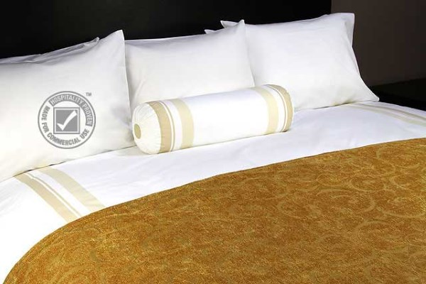 JDT Worldwide - Chenille Scroll Bed Scarf Gold